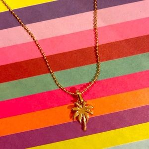 Gold plated palm tree pendant